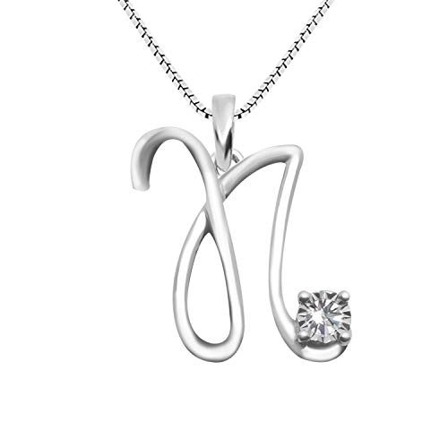 JewelExclusive Sterling Silver .05 cttw White Diamond Initial N Pendant