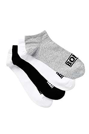 Bonds Men's Trainer Socks 4 Pack, White, Black, Grey, 11+