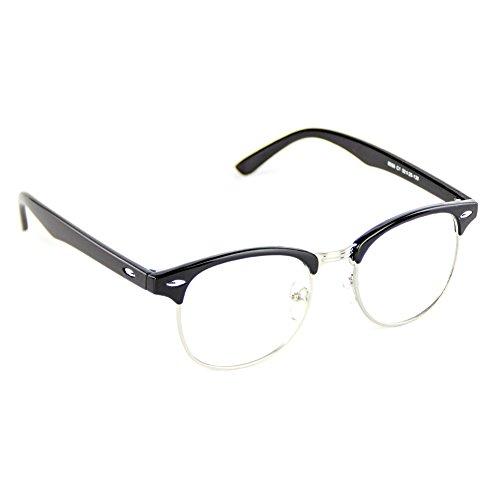 136 Glasses - Cyxus Clear Lens Plain Glasses, Retro Fashion Unisex Spectacles (Classic Black Frame) (Browline Black)