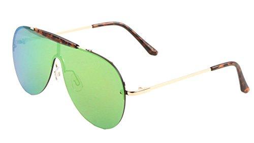 Shield Outdoorsman Floating Flat Lens Aviator Sunglasses w/ Brow Bar (Gold & Tortoise Brow Bar, Green Orange Flash - Sunglasses Flat Mens Brow