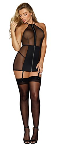 - Sheer Halter Garter Slip Lingerie with Zipper Front