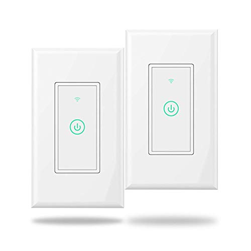 meross Smart Wi-Fi Wall Light Switch, Amazon Alexa and Google Assistant Supported, Remote Control, Timing Function, Fit for US/CA, No Hub Needed, White (2 Pack)