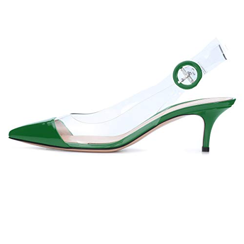 Sammitop Women's Kitten Heel Pumps Cap-Toe PVC Shoes Slingback Dress Shoes Green US11