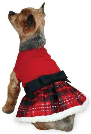 East Side Collection ZM2915 08 83 Yuletide Tartan Party Dress for Dogs, XX-Small, Red