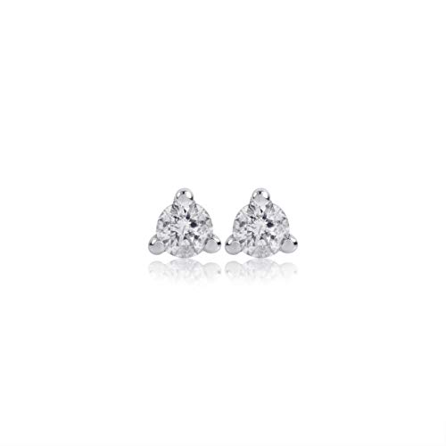 Euforia Jewels IGI Certified 14K White Gold 0.15 Carats Natural Diamonds (I1 Clarity/F-G Color) Round Full Cut Earring With Silver Silicon Post