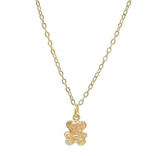 Pori Jewelers 14K Yellow Gold Teddy Bear Pendants in DC 14K Gold Cable Chain -18
