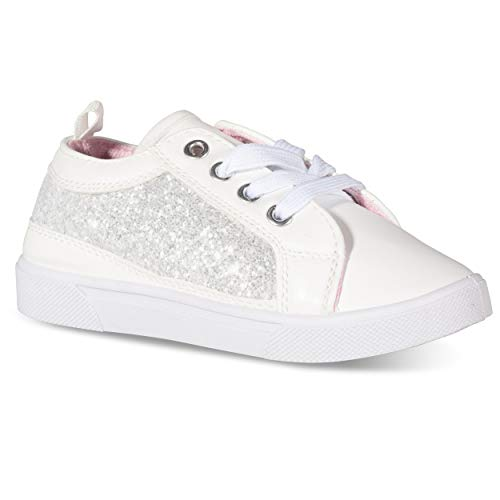 Chillipop High/Low Top Glitter Sneakers for Girls Tennis Shoes (Top Print Glitter)