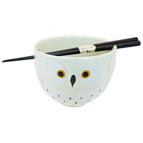 Cute White Owl Japanese Ramen Udon Noodle Bowl with Chopsticks Gift Set 5 Inch Diameter - Oriental Chopsticks