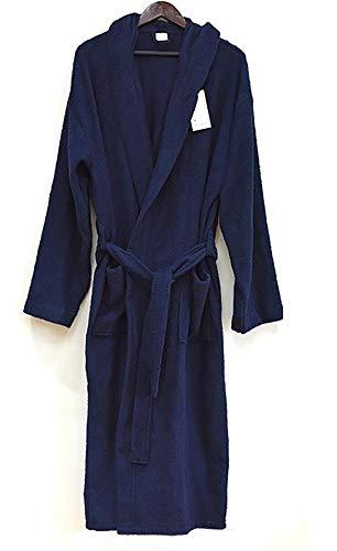 (Heavy 3LB Hooded Terry Cloth Bathrobe. Full Length 100% Turkish Cotton (Navy Blue))