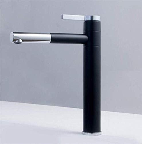 ShiSyan 立体水栓 万能水栓 バスルームのシンクは、スロット付き浴室の洗面台のシンクホットコールドタップミキサー流域の真鍮シンクミキサータップ非震とう銅ダブル回転の蛇口ホットとコールド流域の蛇口ブラックフィードパイプをタップ 混合水栓