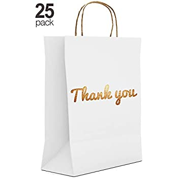 Amazon.com: Bolsas de regalo de agradecimiento blancas ...