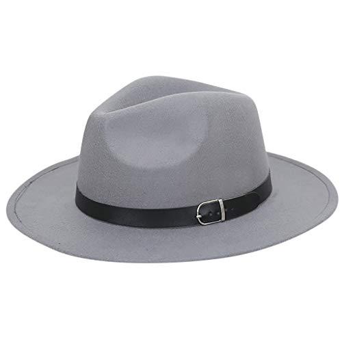 BEERICHH Fedora Hats Men Vintage Wool Felt Wide Brim Belt Fedora Cowboy Hat Cozy Chunky Winter Warm Sun Caps