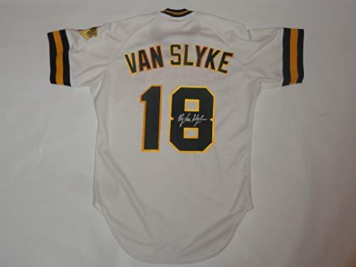 ANDY VAN SLYKE SIGNED VINTAGE RAWLINGS #18 PITTSBURGH PIRATES JERSEY JSA COA
