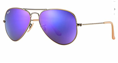 Ray Ban RB3025 167/1M 55M Brushed Bronze Demi/Gray Purple Mirror - Purple Bans Ray