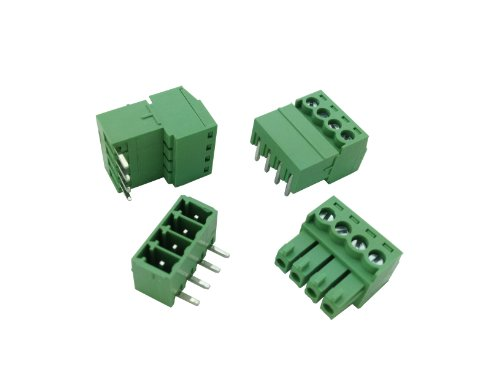Pluggable Terminal (10 Pcs Pitch 3.81mm Angle 4way/pin Screw Terminal Block Connector w/ Angle Pin Green Color Pluggable Type Skywalking)
