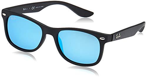 RAY-BAN JUNIOR Kids' RJ9052S New Wayfarer Kids Sunglasses, Matte Black/Blue Mirror, 48 mm (Ray Blue Mirror Ban Sunglasses)