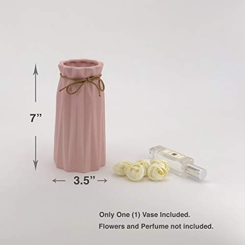 Porcelain Garden Vases - Modern Ceramic Porcelain Frosted Matt Simple Design Vase Home Decor/Wedding Flower Centerpiece Arrangement Living Room Bathroom Kitchen Dinning Table Desktop Party Garden (Pink, Small)