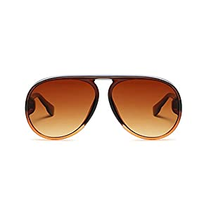 Fashion Aviator Sunglasses for Women Large Plastic Frame Vintage Retro Shades (Brown, 65)