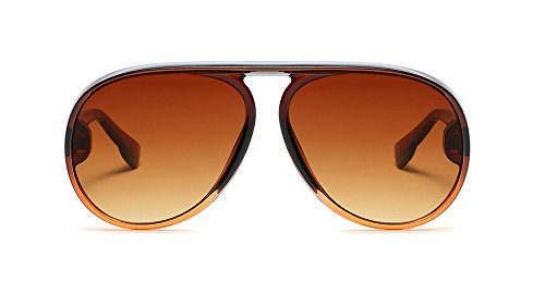 - Large Aviator Sunglasses for Women Fashion Plastic Frame Vintage Retro Shades (Brown, 65)