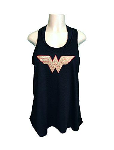 Devious Apparel 'Wonder Woman' Flowy Women's Tank Top - Glitter Polyester Blend Cover up (XXL, Black)