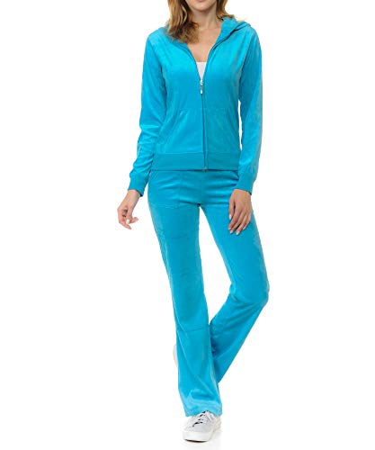 ClothingAve. Womens Lightweight Hoodie & Sweatpants Velour, French Terry Suit 2 Piece Loungewear Set (S-3XL)