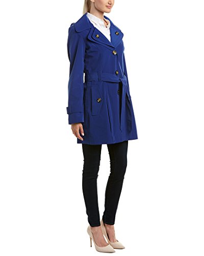 London Fog Women's Trench Coat Hooded Layered Collar Belted (Large, Blue Bell) (Fog Trench London Belted)