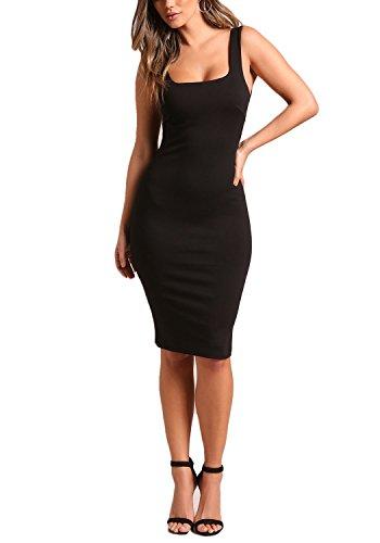 Love Culture Womans Black Square Neck Bodycon Dress - - Culture Love Shop