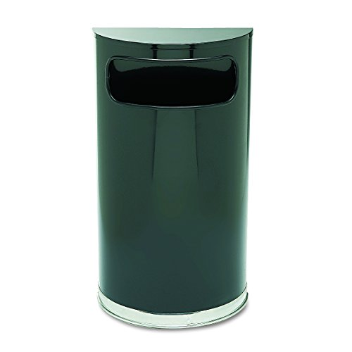 Rubbermaid Commercial SO820BPL European & Metallic Series Receptacle, Half-Round, 9gal, Black/Chrome (Half Round Wastebasket Lid)
