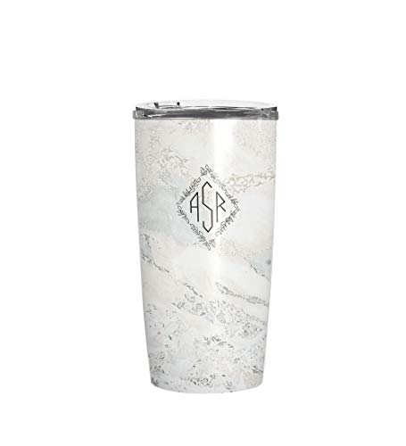 Personalized Marble Print Monogram Tumbler Coffee Mug - Custom Stainless Steel Monogrammed Initial Letter Double Walled Vacuum Insulated Travel Mug Cup with Crystal Clear Lid (20oz Tumbler) ()