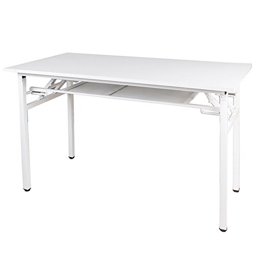 Dland 47'' Medium Folding Table with Storage Layer ND7-120WW, No Install Needed, Composite Wood Board, Home Office Computer Desk/ Workstation, White & White Legs, 1 Pack by Dland