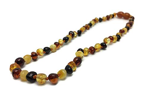 Baltic Amber Necklace Polished 12.5' Authenticy Certificate All Natural 100% Safe (Multi)