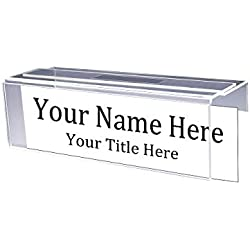 """Adjustable Cubicle Name Plate Holders Single-Sided - Expands from 2"""" up to 3"""" Wide Using Our Clear Removable Magic Tape by Plastic Products Mfg (5 Pack) - Cubicle Name Plates"""