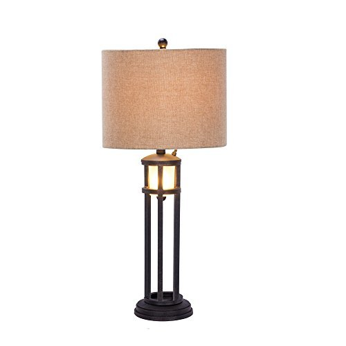 Martin Richard W-1536 Transitional Fangio Lighting's #1536 30 inch Black Metal & Frosted Glass Table Lamp with Nightlightblack & Frosted Glass (Lamp Metal Richard Table)