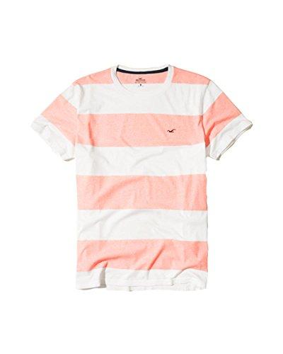 Hollister Mens Graphic Tee T Shirt Henley V Neck  Xs  Light Pink Stripe
