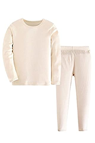 ASHERANGEL Kid Boys Solid Long Thermal Underwear Set 100% Cotton Pajamas Beige 4-5Y