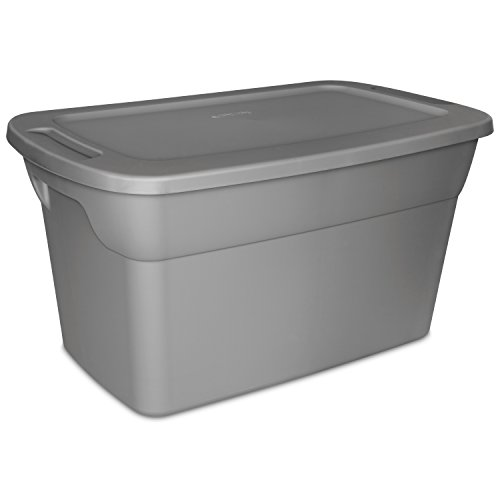 Sterilite 30 Gallon Tote Box- Steel- Case of 6 ()