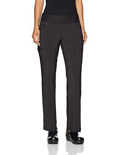 Cherokee Women's iFlex Mid Rise Straight Leg Pull-On Pant,Black,Large Regular Knit Scrub