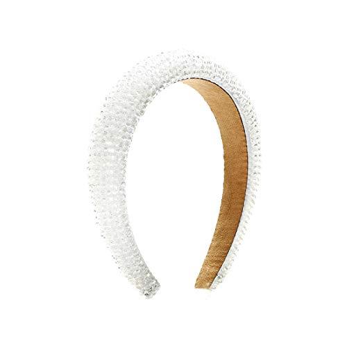 Fashion Headband for Women Crystal White Head Band Design Bridal Elegant Wedding Headwear Wide Hairbands For Girl