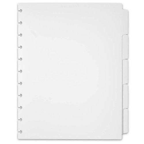 Levenger Circa Plastic 5 Tab Dividers, White Letter (ADS3720 WH LTR)