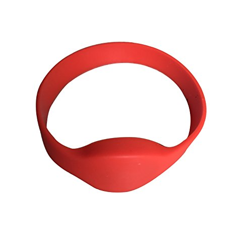 YARONGTECH-13.56MHZ ISO 14443A MIFARE Classic 1K NFC Silicone rfid wristband Pack of 5 (Red)