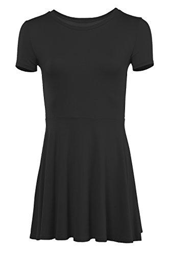 Karies Women's Short Sleeve Round Neck Flared Skater Dress Black L