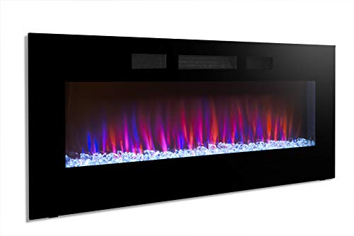 Cheap Yukon 50 Wall Recessed Electric Fireplace 1500W Adjustable Front Heater Linear Fireplace Timer/Remote Control Captivating Flame Effects on Crystals Cube Ember Bed Black Friday & Cyber Monday 2019