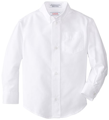 Izod boys Long Sleeve Solid Button-Down Oxford Shirt,White,7