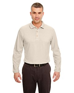 (UltraClub Mens Long-Sleeve Classic Pique Polo (8532) -STONE -L)