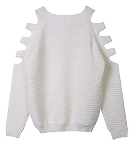 A Lunghe Camicia Off Tops Bianca Eleganti Moda Bluse Shoulder Casual Shirts Costume Donna Ragazze Maniche Rotondo Top Collo Maglioni Autunno Primaverile IPn0wxBXqF
