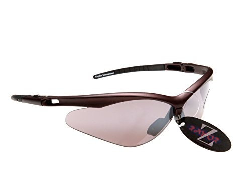 RayZor Professional Lightweight UV400 Brown Sports Wrap Cricket Sunglasses, With a Smoked Mirrored Anti-Glare Lens by Rayzor