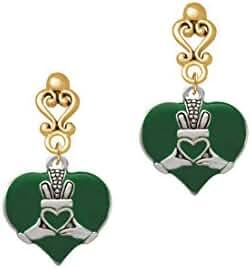Large 2-D Claddagh on Green Heart Gold Tone Filigree Heart Earrings