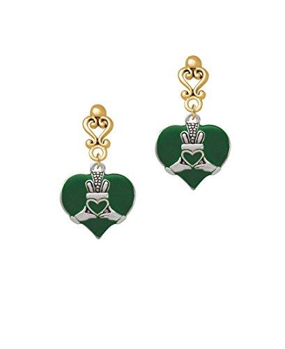 Silvertone Large 2-D Claddagh on Green Heart Goldtone Filigree Heart Earrings