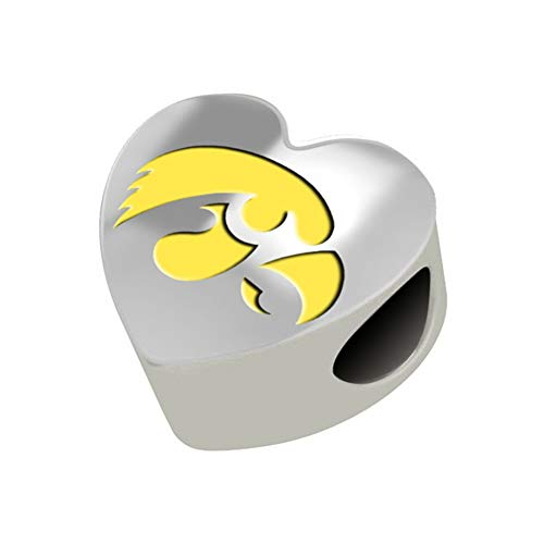 Iowa Hawkeyes Sterling Silver Color Heart Bead Fits Most European Style Bracelet -