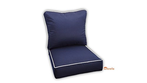 Sunbrella Canvas Navy With White Piping Cushion Set for Indoor / Outdoor Deep Seat Furniture Chair - Choose Size (Seat Cushion 24''w X 27''d) by Resort Spa Home Decor